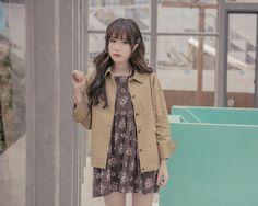 iFashion / sleepy rabbit wild stylish lapel khaki frock coat autumn female…