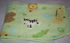 Just Born Green Safari Animals LION GIRAFFE ZEBRA Baby Blanket Soft Plush Lovey #JustBorn
