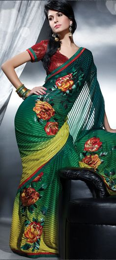 Faux georgette fabric is used.......machine embroidery work....FREE SHIPPING WORLDWIDE.....ORDER NOW..You can buy this at-> http://www.indianweddingsaree.com/product/68207.html