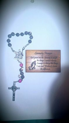 Car rosaries. Grey with pink.  For orders email me at mimiandlola@gmail.