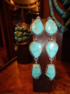 Kingman Turquoise Earrings by Rosella Sandoval