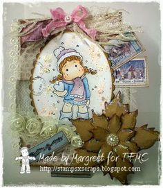 tilda with snow heart for time for magnolia challenge blog and Stamps - Scraps
