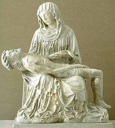 Entourage du Maître du retable de Rimini actif en Allemagne ou dans les Pays-Bas méridionaux vers 1430-1440  La Vierge de Pitié  Vers 1430 - 1440  Provenant de Venise Albâtre H. 0,95 m ; L. 0,83 m. ; Pr. 0,38 m.