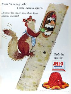 """One the fun Jell-O ads from the 1950s that was part of their animal themed """"I wish"""" series. #vintage #1950s #ads"""
