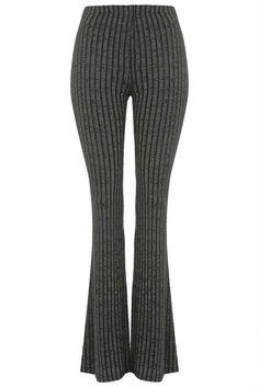 Jersey ribbed flare pants - Shop for women's Pants - GREY Pants Legging Outfits, Topshop, Grey Pants, Flare Pants, Trousers, Women's Pants, Knitwear, Pants For Women, Women Wear