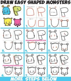 How to Draw Cute Cartoon Monsters from Simple Shapes, Letters and Numbers for Kids Easy Step by Step Drawing Tutorial (Step Drawing For Kids) Drawing Tutorials For Kids, Easy Drawings For Kids, Drawing For Kids, Drawing Tips, Drawing Ideas, Drawing Techniques, Cute Monsters Drawings, Cartoon Monsters, Doodle Monster