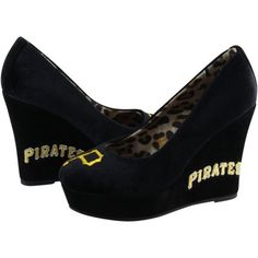 Cute Shoes Pittsburgh Pirates Ladies Groupie II Wedge Shoes - Black