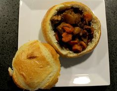 beef stew in a trench of bread. Good for a themed night or just because yum.