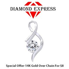 """1/2 Ct Round Cut White 14K Gold Solitaire Pendant Without Chain """"Mother\'s Day Gift"""". Starting at $1"""