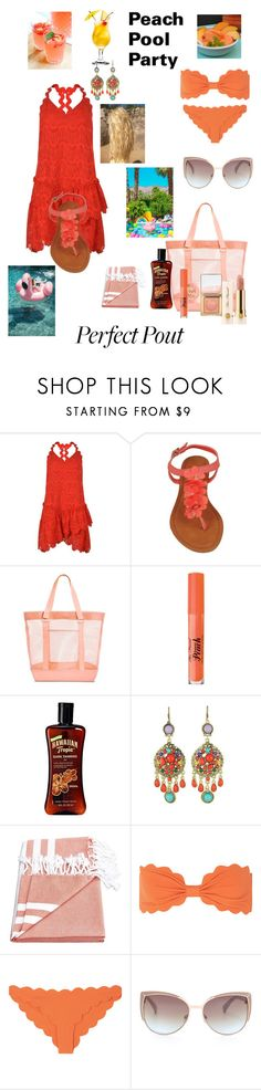 """Peach pool party"" by tanya-gosnell-brewer ❤ liked on Polyvore featuring beauty, Three Floor, Too Faced Cosmetics, WithChic, Marysia Swim and peachlipstick"