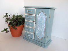 $75. Ladies Jewelry Box Upcycled Jewelry Armoire Hand Painted Duck Egg Blue Jewelry Organizer Jewelry Display Annie Sloan Paint Jewelry Holder