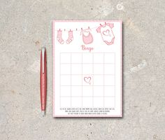 Baby Shower Bingo Card Printable - Digital File, Instant Download - Baby Shower Games, Pink Bingo Game - pinned by pin4etsy.com
