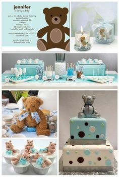 Teddy Bear Baby Shower Inspiration Board. Love the cake. Using red, green and brown, this could be an amazing spread for a kids Beary Holiday Party!!!