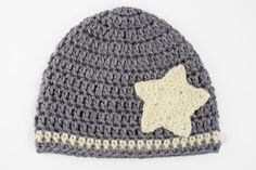 Gray and Yellow Crochet Baby Hat with Star by lauraanncrochet, $8.00
