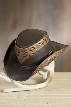ba722bad903ac Falcon Hand-Tooled Leather Cowboy Hat