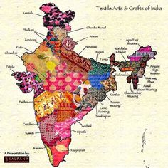 Textile map of India. And innovative campaign by to popularise handloom Indian Fabric, Indian Textiles, Diy Broderie, India Map, India India, India Travel, Amazing India, Kinds Of Fabric, Indian Heritage