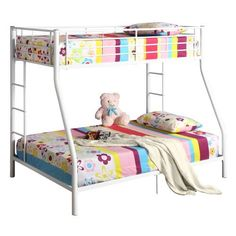 Walker Edison Metal Twin Full White Bunk Bed (812492010357)