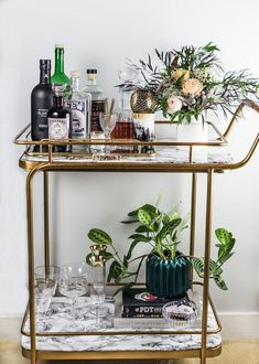 Cocktail, Photography & Bar Cart Styling Class with Craft & Cocktails Bar Trolley, Drinks Trolley, Cocktail Trolley, Home Bar Decor, Bar Cart Decor, Tray Decor, Craft Cocktails, Drink Cart, Gold Bar Cart