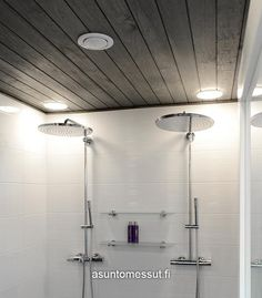 Villa Ainoa - Pesuhuone | Asuntomessut Bathroom Toilets, Laundry Room, Track Lighting, My House, Bathtub, Saunas, Ceiling Lights, Mirror, Inspiration