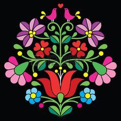 Kalocsai bordado patr n floral folcl rica h ngara sobre negro Foto de archivo