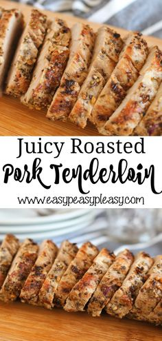 Juicy Roasted Pork Tenderloin Recipe perfect for busy weeknights and ready in about 30 minutes. Delicious Juicy Roasted Pork Tenderloin that's easy and inexpensive perfect for weeknight dinners that takes only about 30 minutes. Garlic Pork Tenderloin Recipe, Roasted Pork Tenderloins, Pork Roast, Pork Tenderloin Roast Recipes, Best Pork Tenderloin Marinade, Pork Tenerloin, Rosemary Pork Tenderloin, Pork Tenderloin Rub, Oven Roasted Pork Tenderloin