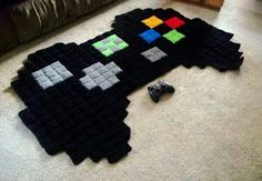 Giant 8 Bit Xbox Controller Rug by harmonden on Etsy Etsy shop Harmonden sells crochet rugs featuring characters from popular video games like Super Mario Bros.mon, The Legend of Zelda, Megaman, and Minecraft. The rugs are available to pu. 8 Bit Crochet, Pixel Crochet, Crochet Rugs, Blanket Crochet, Crochet Geek, Crochet Squares, Crochet Granny, Crochet Gifts, Granny Squares