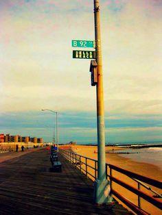 Beach sign on boardwalk. I lived on My childhood home was destroyed by Hurricane Sandy. Rockaway Park, Far Rockaway, Rockaway Beach, Queens Nyc, Places In New York, New York Girls, Clean Beach, Brooklyn Baby, Long Beach Island