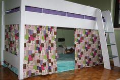 verkleidung aus stoff f r das hochbett n hen bitzen vorh nge selber n hen kinder vorh nge. Black Bedroom Furniture Sets. Home Design Ideas