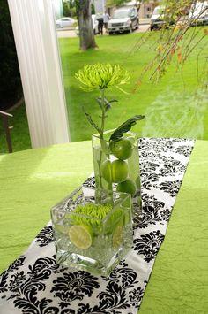 Damask & Lime green wedding   Cute table decor lime & black   Reception photographer Utah