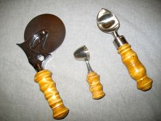 lathed pizza cutter coffee scoop and ice cream scoop. maple