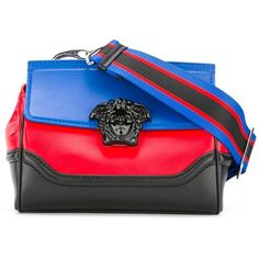 Versace Palazzo Empire colour block shoulder bag (5.280 BRL) ❤ liked on Polyvore featuring bags, handbags, shoulder bags, print purse, blue handbags, clasp handbag, red and black handbags and versace handbags