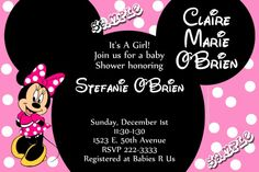 Minnie Mouse Baby Shower Invitations - Get these invitations RIGHT NOW. Design yourself online, download and print IMMEDIATELY! Or choose my printing services. No software download is required. Free to try!