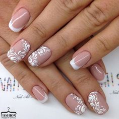 50 Top Best Wedding Nail Art Designs to Get Inspired Lace Wedding Nails, Lace Nails, Wedding Nails Design, Flower Nails, French Nail Art, French Tip Nails, Bridal Nail Art, Bride Nails, Luxury Nails