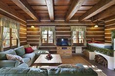 v Krkonoších - společenská místnost Ranch Life, Wooden House, Design Case, House In The Woods, Traditional House, My Dream Home, Country Style, Tiny House, Kitchen Design