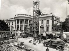 UNDER CONSTRUCTION.  Construction of the Portico - The White House - Washington, DC -  ca. 1950.
