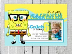 Personalized Sponge Bob Square Pants inspired Custom Birthday Party Printable Invitation Nickelodeon  Invite Nick Jr. Blue & Yellow.