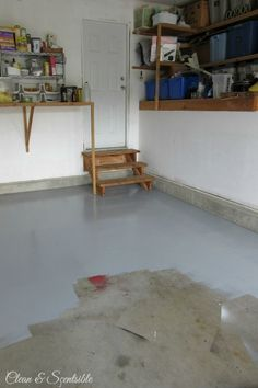Great tutorial on how to paint a garage floor.  This makes such a difference! // cleanandscentsible.com