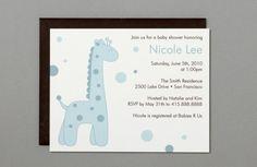 Blue Giraffe A2 Flat Note Baby Shower Invitations by RatDogInk, $17.00