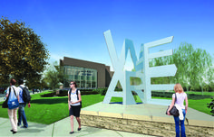 """PENN STATE – CAMPUS – Check out the 2013 senior class gift. Shown here in a computer rendering, which was presented at today's Board of Trustees meeting, the 12-foot, stainless steel """"We Are"""" sculpture will be located on the east side of the IM Building, near the intersection of Curtin and University. Artist Jonathan Cramer '94 was inspired by Philadelphia's """"LOVE"""" sculpture and the famous Chicago """"bean."""" Construction is set to begin this summer."""