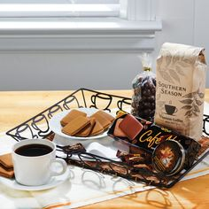 Kaffeeklatsch Coffee Gift Tray - Coffee & Tea Perfect for the coffee lover on your list. This wire and rattan tray serves up Southern Season Blend Coffee, Dark Chocolate Espresso Beans,Café Noir Cookies, Coffee CandyTin and Espresso Candy.
