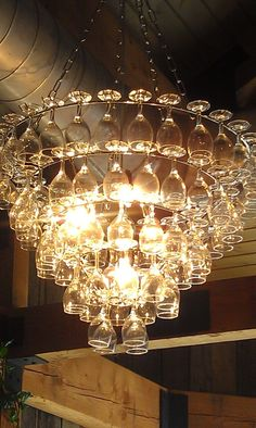 Creative glass chandelier design for decorating your home simple the art of up cycling wine glass chandeliers funky cool wine glass chandelier aloadofball