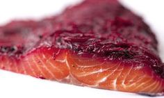 Nigel Slater's salmon marinated with beetroot, and celeriac, mustard and soured cream salad recipes | Life and style | The Guardian