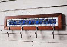Four Hook Custom Coat Rack Mosaic Coat Rack 20 Entryway Coat Hooks, Bag Rack, Reclaimed Wood Frames, Blue Mosaic, Rack Design, Wall Mounted Coat Rack, Blacksmithing, Wall Hooks, Artist At Work