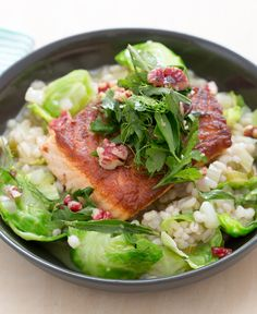Warm, hearty barley risotto topped with flaky salmon.