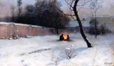 Ivan Endogurov Winter. Near the fire. Oil on canvas. Kharkiv Art Museum