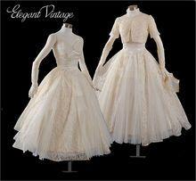 Vintage Lace Tea Length Wedding Dress with Jacket