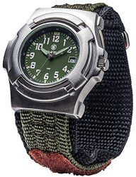 Smith & Wesson Men's Lawman Watch with 3ATM/Japanese Movement/Date Display/Stainless Steel Caseback/Glowing Hands/Olive Drab Face and Nylon Strap, 40mm