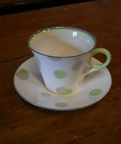 Shelley Art Deco Regent  Cup and Saucer Polka Dots 1930s very rare