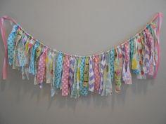 Photography Backdrop/ Torn Fabric Rag Tie Garland /Tattered Banner/ Wedding /Pink Aqua Yellow Green Purple / Baby Shower / Birthday/The Maci