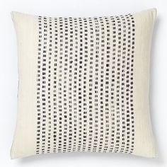 Embroidered Dot Silk Pillow Cover - India Ink #westelm